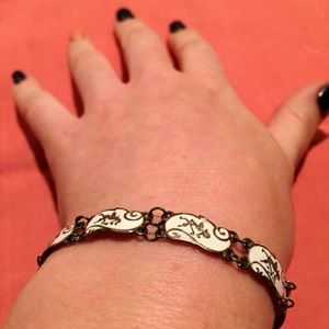 Stamped Sterling Silver and White Link Bracelet